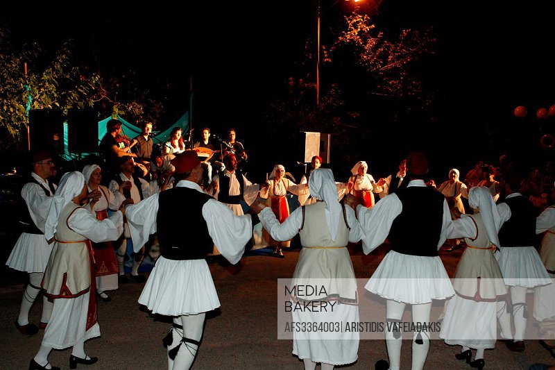 Dancers with traditional Greek uniforms.