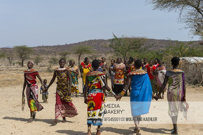 Samburu women performing a welcome dance at a Samburu village near Samburu National Reserve in Kenya.