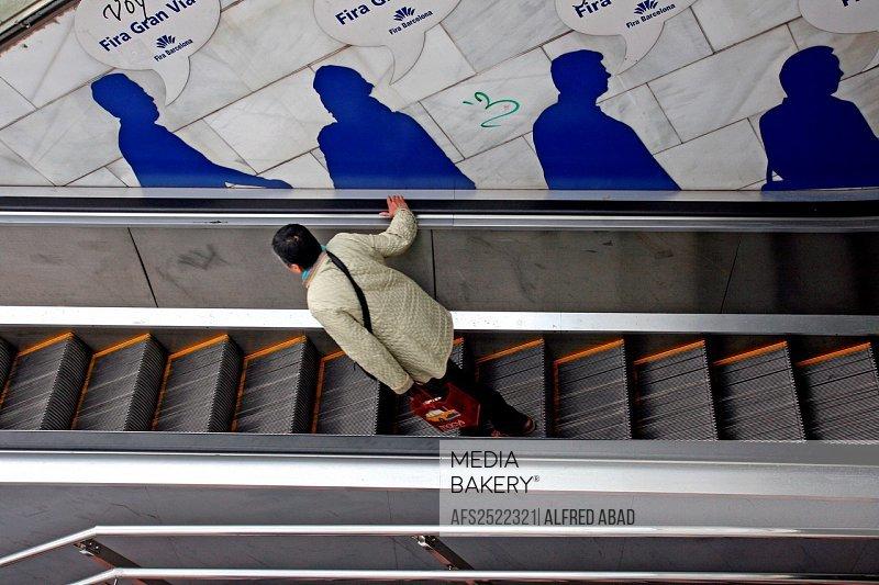 escalators, Feria de Barcelona, Barcelona, Catalonia, Spain