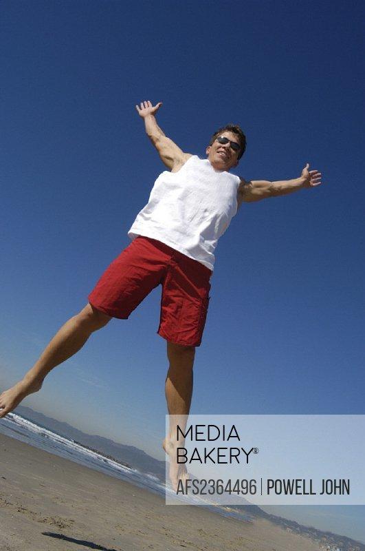 10642295, action, joy, jumping up, joy of life, caper, jump man, sea, nature, fun, joke, jump, beach, seashore,