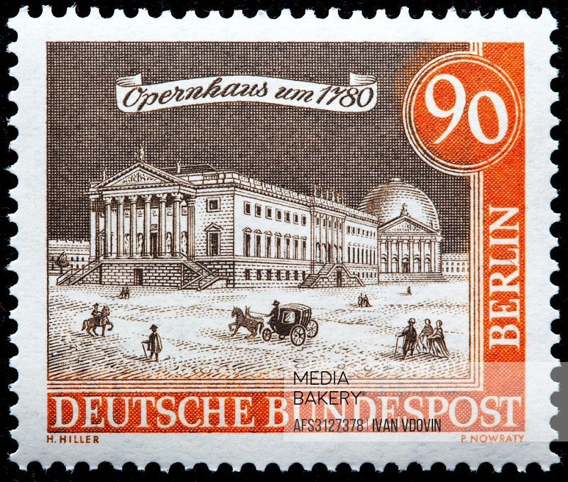 Opera House, 1780, postage stamp, Germany, 1962