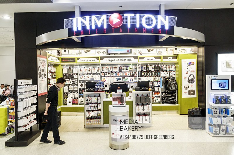 Florida, Miami, International Airport MIA, terminal concourse gate area, store, shopping, concession, Inmotion Entertainment, electronics retailer, bu...