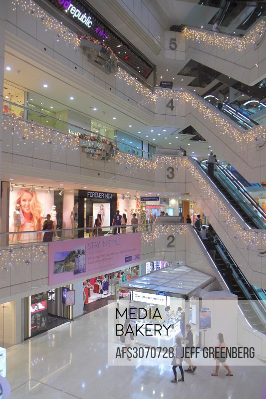 Singapore, Orchard Road, Ion Orchard, mall, complex, upscale, shopping, escalators, inside, interior,