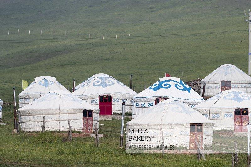 China, Inner Mongolia, Hebei Province, Zhangjiakou, Bashang Grassland, Hotel with yurts.