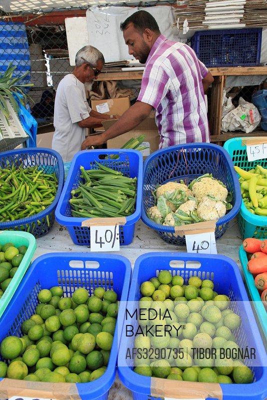 Maldives, Male, produce market, people,.