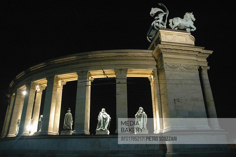 Budapest (Hungary), the monument in the Heroes Square, nighttime