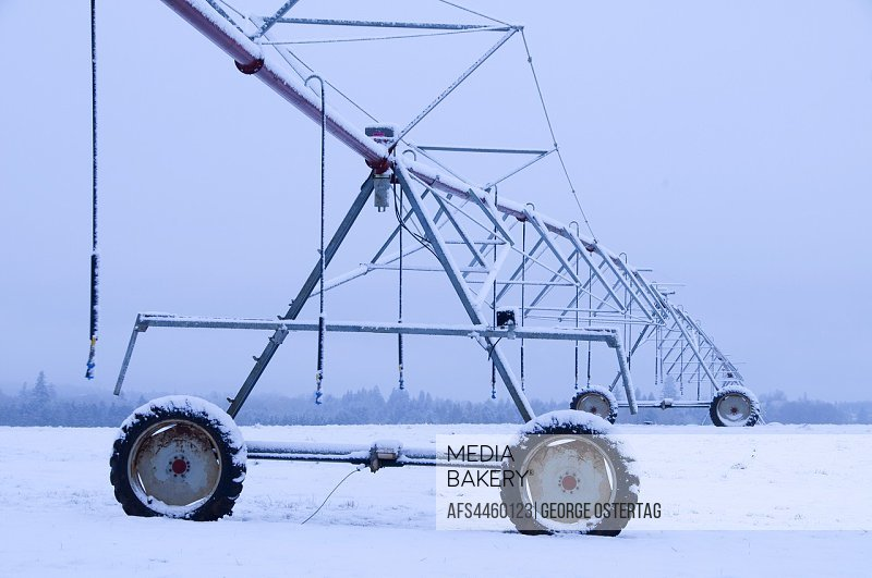 Irrigation equipment in snow, Marion County, Oregon.