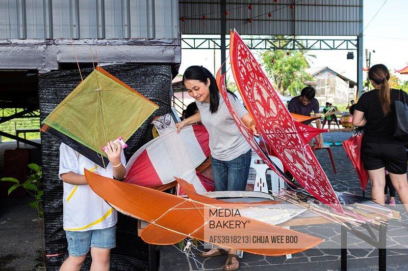 Give-away kites during Moon-Cake Festival in Siniawan, Sarawak, Malaysia.