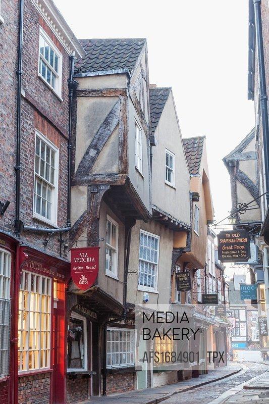 England, Yorkshire, York, The Shambles Medieval Shopping Street