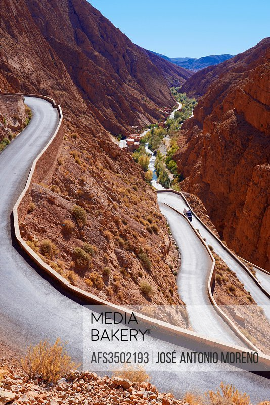 Mountain Road, Winding road, Dades Valley, Sinuous road, Dades Gorges, High Atlas, Morocco.