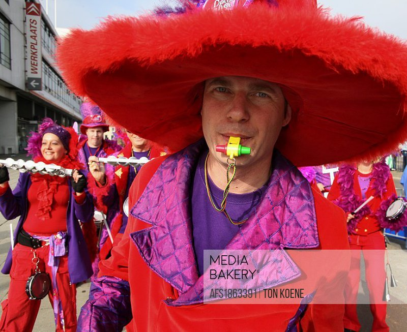 People celebrating carnaval in The Netherlands