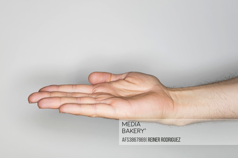 isolated hand gesture, photographed with ring flash.