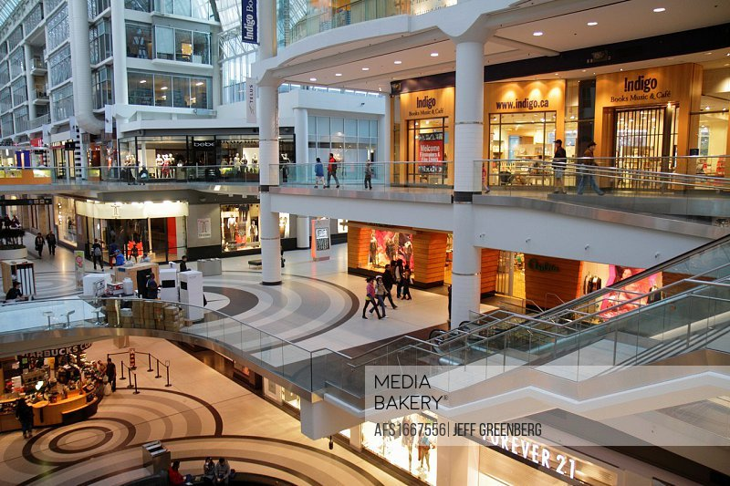 Canada, Ontario, Toronto, Yonge Street, Downtown Yonge, Eaton Centre, center, shopping, mall, closed stores, escalator, atrium, multi-levels, after-ho...
