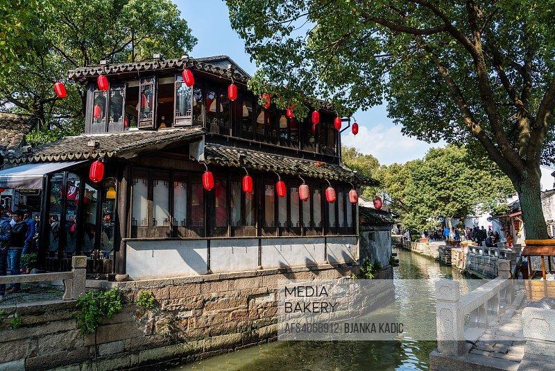 Along the canal, Ancient water town of Tongli, Suzhou, Jiangsu Province, China.