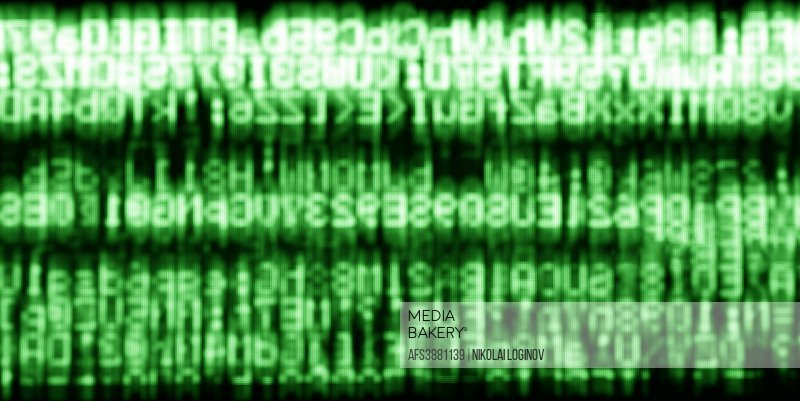 Horizontal green matrix information data abstraction background.