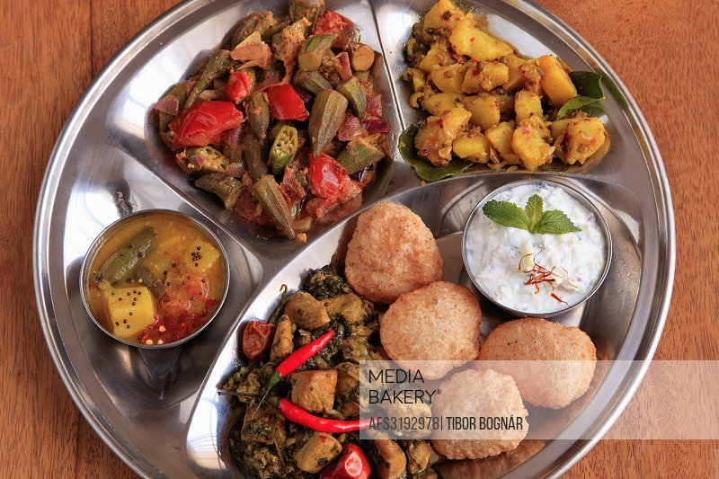Indian thali meal,.