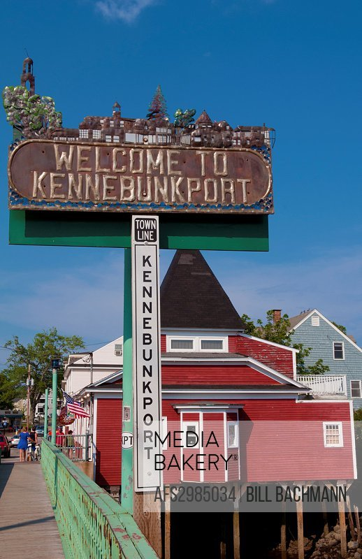 Classic Quaint New England town of Kennebunkport Maine in sunshine welcome sign