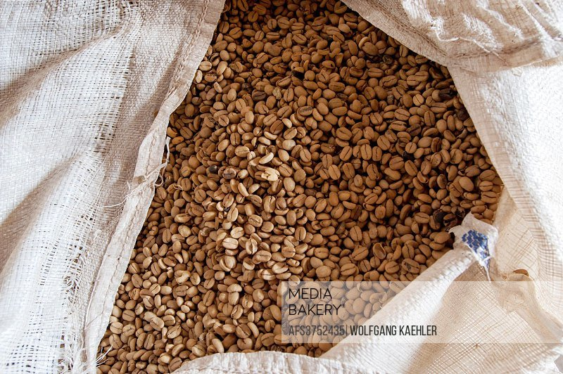 Coffee bean sack at the Doka Estate coffee plantation in Alajuela in Costa Rica.