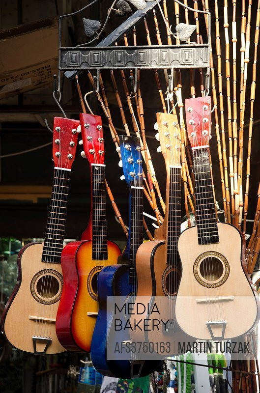 Mediabakery - Photo by Age Fotostock - Colorful guitars on display