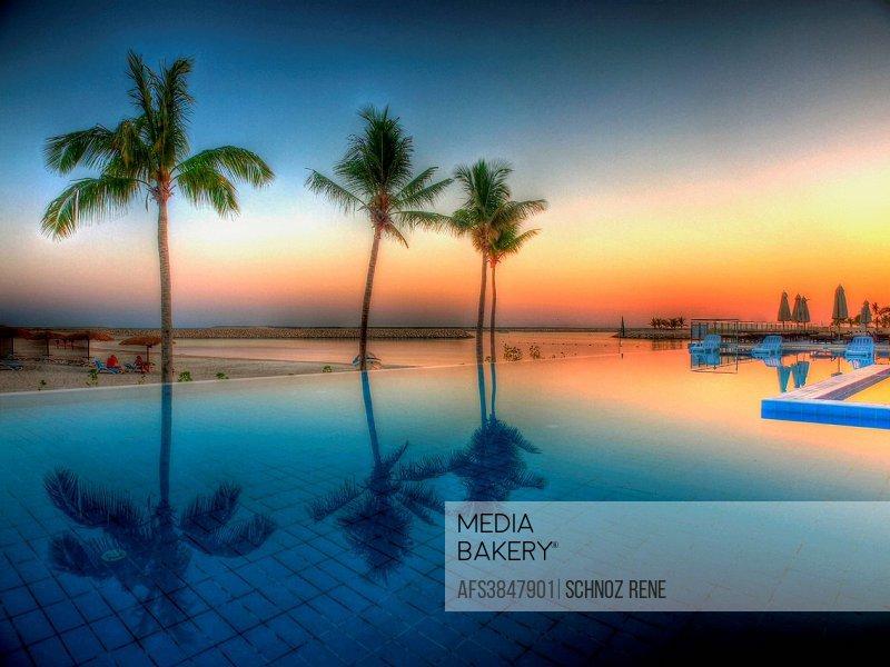 Swimming pool, sundown, sunset, Oman