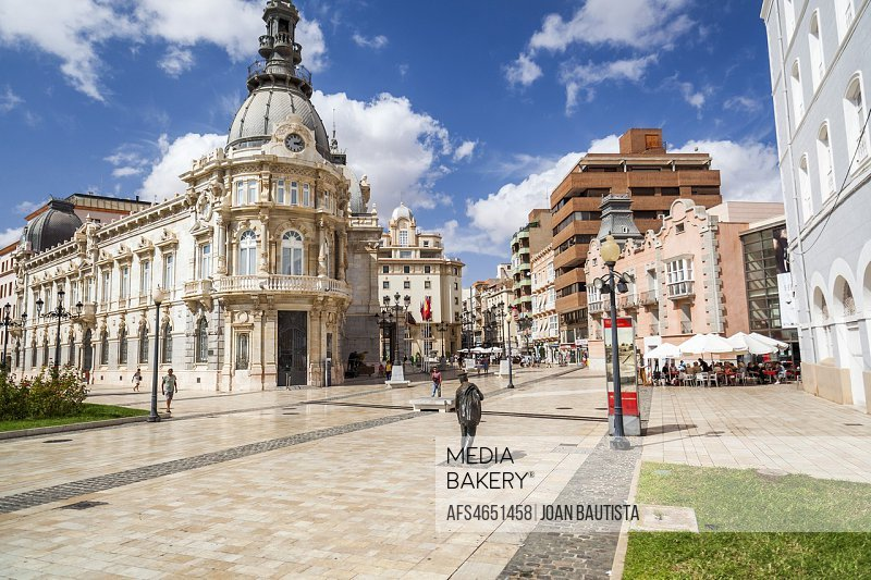 Street view, square, Plaza Heroes de Cavite, historic center and touristic point city,Cartagena,Spain.