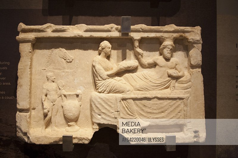 Europe, Greece, Peloponnese, ancient Corinth, archaeological site, Archaeological museum, votive relief for venerating heroes.