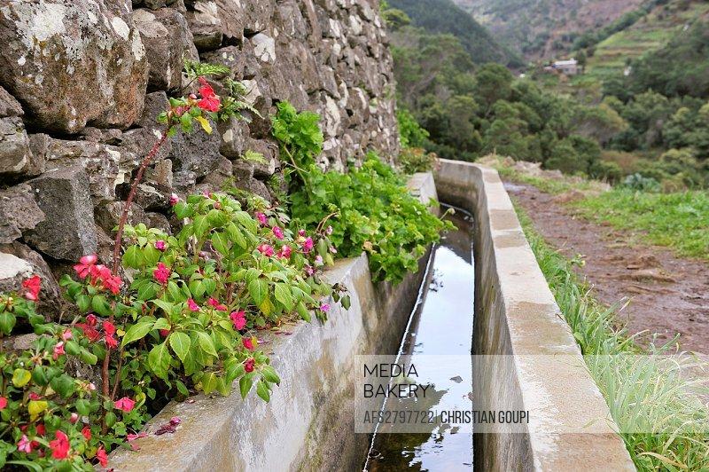 levada aqueduct on the heights of Machico, Madeira island, Atlantic Ocean, Portugal