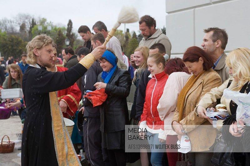Easter holiday celebration at St. Vladimir´s cathedral, Chersonesos. Crimea, Ukraine