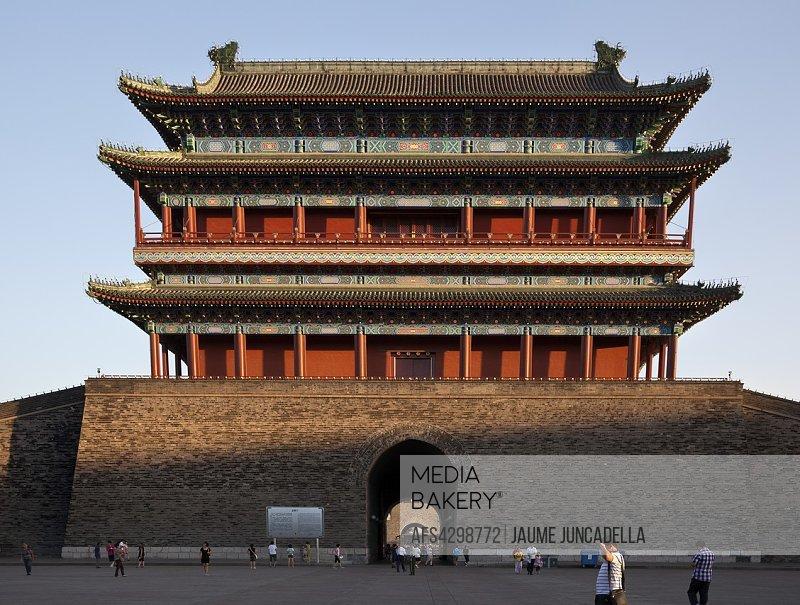People walking on Tiananmen Square in Beijing.