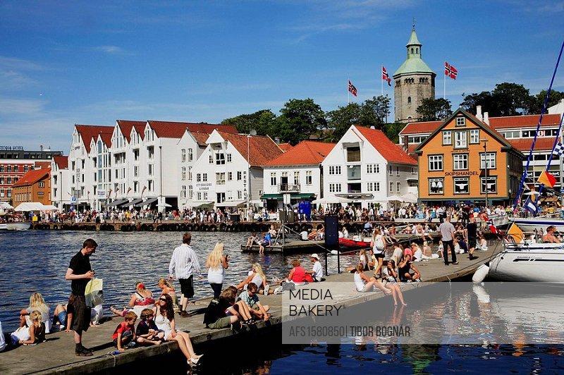 Norway, Stavanger, harbour, crowd of people, leisure