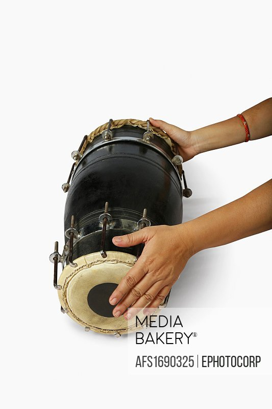 Dholki, also called nal, a musical instrument, India.