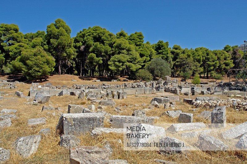 Europe, Greece, Pelepones, Epidauros, excavation area, excavation, Historical, museum, place of interest, landmark, tourism, trees, plants, stone, sce...