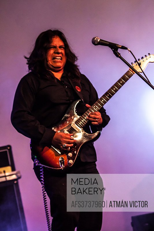 rock musician playing a Fender Stratocaster electric guitar during the LA NOCHE EN BLANCO event in San Cristobal de La Laguna