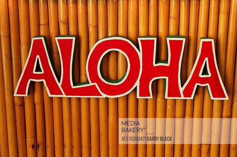 Aloha Sign on Bamboo, Maui, Hawaii, USA