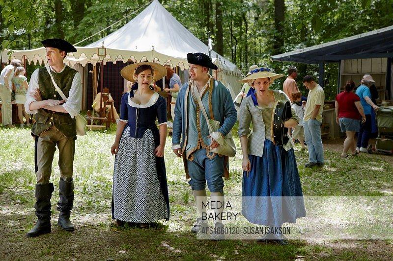 Singers at the Claude Moore Colonial Farm market fair, McLean, Virginia, where it is always 1771