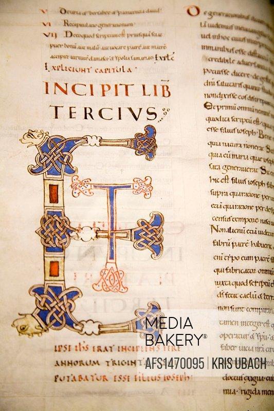 Letter E in ancient manuscript