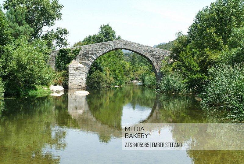 Corsica, Europe, France, Rizzanese, Sartene, Spin'a Cavallu, bridge, Corse, river, sky, trees, water