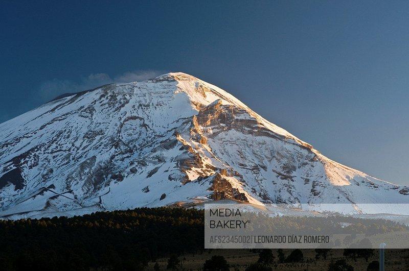 Popocatepetl mountain at sundown