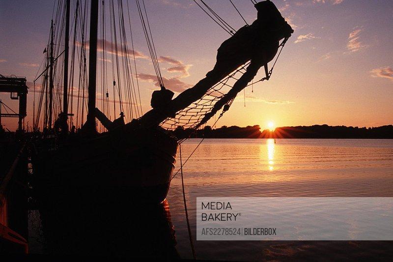 Sailing ship and sundown