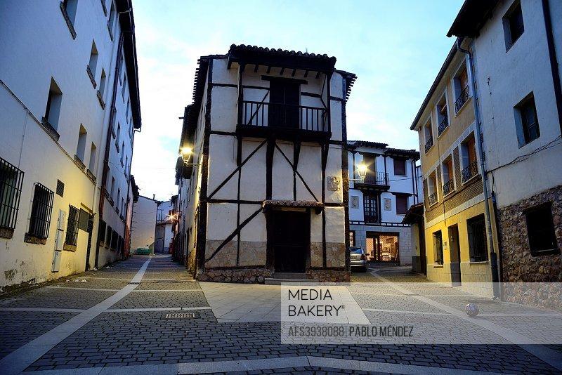 Framework houses in a square of Covarrubias, Burgos, Spain.