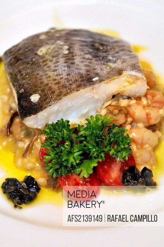 Cod dish with prawns