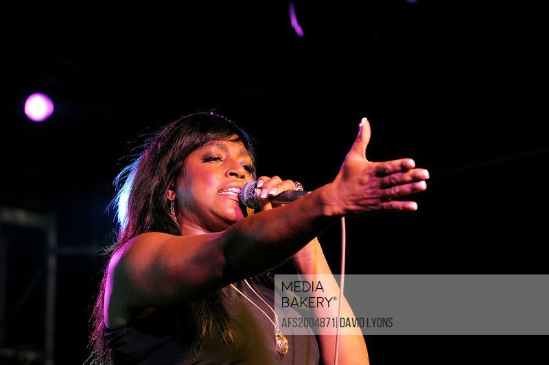 Mica Paris, English soul blues singer performing in the main stage marquee  Maryport Blues Festival, 2010  Cumbria, England