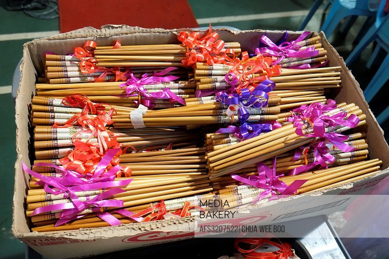 Chopsticks as souvenirs for guests coming to Sarawak Chai´s Clan Women Section 15th Anniversary Party in Kuching, Sarawak, Malaysia.