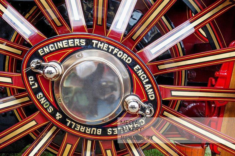 England, Dorset, Blanford, The Great Dorset Steam Fair, Steam Engine Wheel Detail
