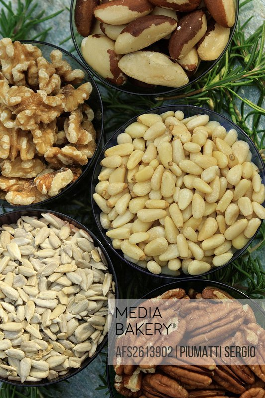 brazil nuts, health, healthy, nutrition, nuts, pecan halves, pecans, pine nuts, shelled, sunflower seeds, food