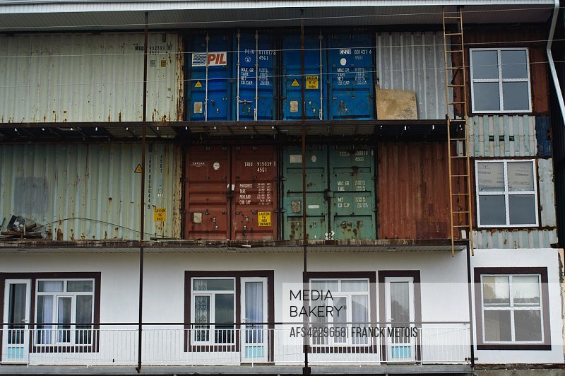 Building made from containers ( Kyrgyzstan). The building is a hotel under construction.