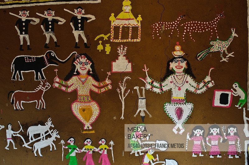 Tribal painting at the Jagdalpur Anthropological Museum ( Chhattisgarh state, India).
