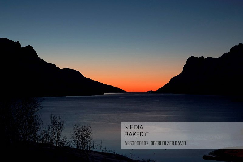 Evening mood, Ersfjorden, Europe, fjord, scenery, landscape, light, mood, sea, Norway, Scandinavia, sundown, Tromsö, winter