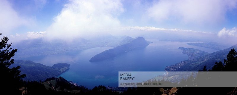 Central Switzerland, Europe, Lake Lucerne, View, from Mount Rigi, Lake Lucerne, Landscape, Overlook, Overview, Burgens