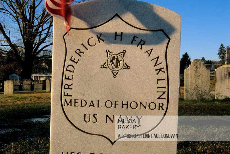 Medal of Honor headstone in an scenic New England graveyard